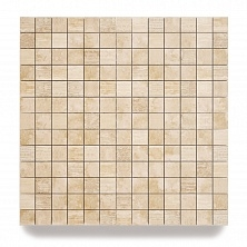 Travertine mosaic tales 5 x 5 x 1 cm attached to a high quality mesh of 30 x 30 cm.
