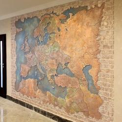 Рельефное пано на стене: карта мира. Дизайн интерьера.